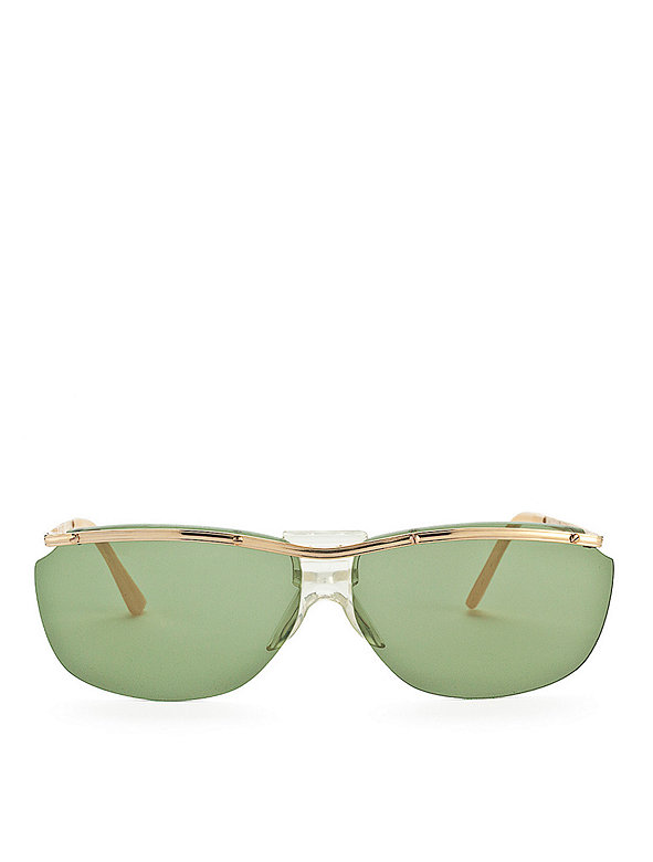 Vintage Green-Tinted Aviator Wire Sunglasses
