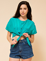 California Select Original Silk Cropped Tie Top