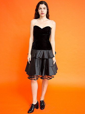 Vintage Strapless Velvet Tiered Party Dress