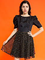 Vintage Gold Polka Dot Mesh Party Dress