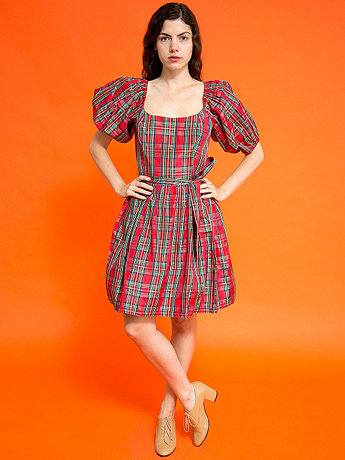 Vintage Tartan Plaid Puff Sleeves Party Dress