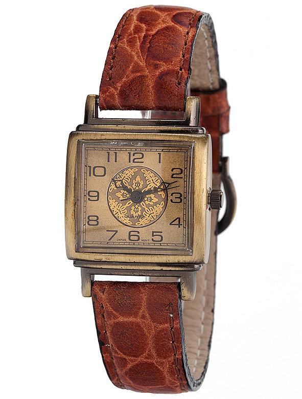 Vintage Metallic Florals Leather Watch