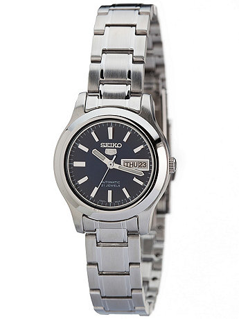 Seiko 21 Jewels Navy/Silver Ladies' Metal Band Watch