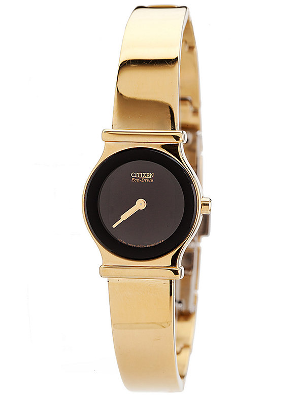Citizen Eco-Drive Black/Gold Ladies' Metal Band Watch