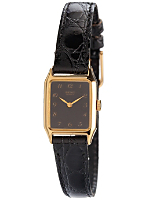 Seiko Black/Gold Ladies' Leather Band Watch