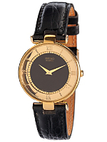 Seiko Black/Gold Roman Numerals Ladies' Leather Band Watch