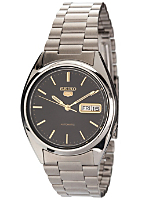 Seiko Automatic Black/Gold/Silver Metal Band Watch