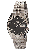 Seiko Automatic 21 Jewels Black/ Silver Metal Band Watch