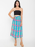 Vintage Madras Mid-Length Skirt