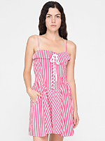 Vintage Striped Lace-Up Dress