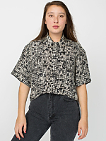 Vintage Ethnic Print Cropped Short-Sleeve Blouse
