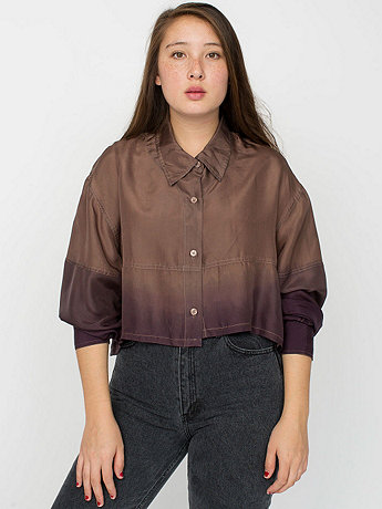 California Select Originals Silk Cropped Button-Up