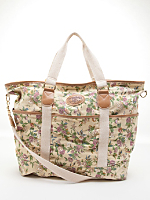 Vintage Floral Cotton Zippered Tote