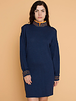 Vintage Mandarin Collar Knit Dress