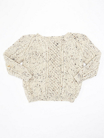 Vintage Kids' Marled Wool Cable Knit Sweater