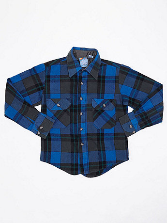 Vintage Kids' Plaid Flannel Button-Up