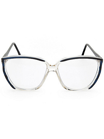 Vintage Blue/Black/Clear Angular Eyeglasses