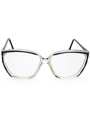 Vintage Black/Clear Angular Eyeglasses