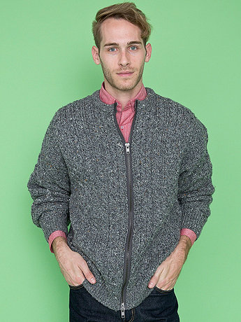 California Select Originals Zip Fisherman Sweater