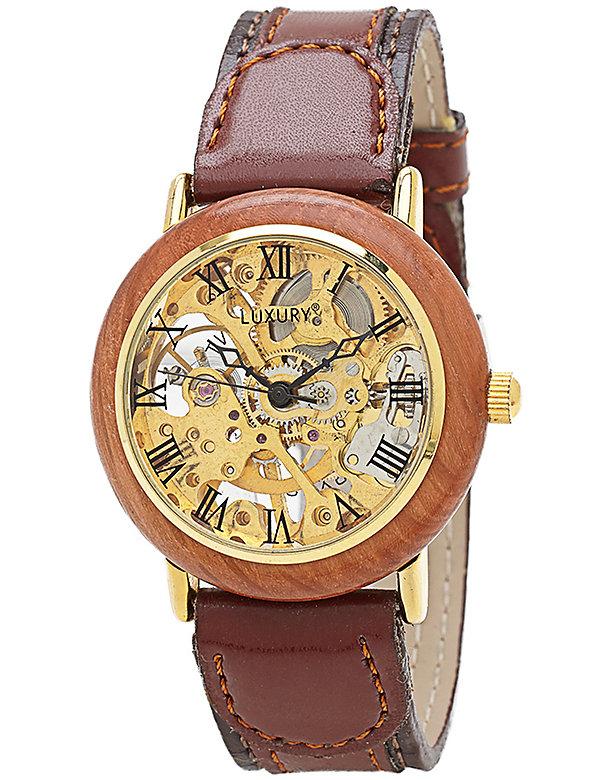 Vintage Mahogany Skeleton Watch