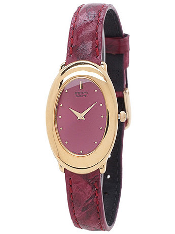 Seiko Burgundy/Gold Oval Ladies' Leather Band Watch