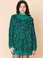 Vintage Benetton Abstract Mohair Mock Neck Sweater