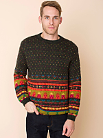Vintage Benetton Fair Isle Houses Wool Sweater