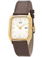 Citizen Silver/Gold Rectangle Leather Band Watch