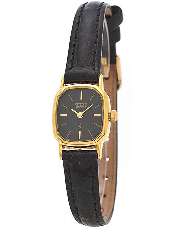 Citizen Black/Gold Ladies' Leather Band Watch