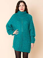 Vintage Cable Knit Mohair Turtleneck Sweater Dress