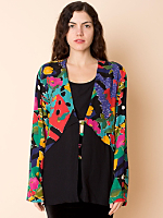 Vintage Abstract Floral Cut-Out Blouse