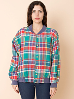 Vintage London Fog Madras Plaid Bomber Jacket
