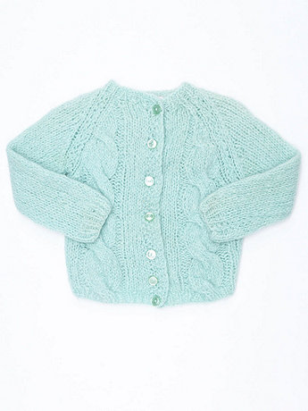 Vintage Kids' Cable Knit Wool Cardigan