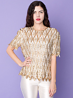 Vintage Sequined & Beaded Leaves Silk Blouse