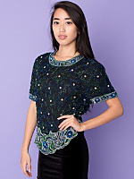 Vintage Beaded Stars Silk Blouse