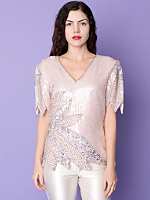 Vintage Sequined & Beaded Silk Blouse