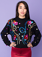 Vintage Sequined Flowers Silk & Angora Cropped Sweater