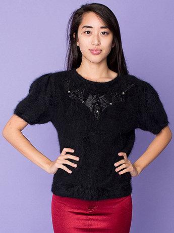 Vintage Appliques & Rhinestones Angora Short-Sleeve Sweater