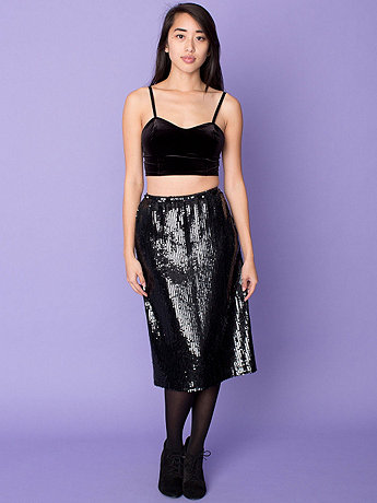 Vintage High-Waisted Sequined Skirt