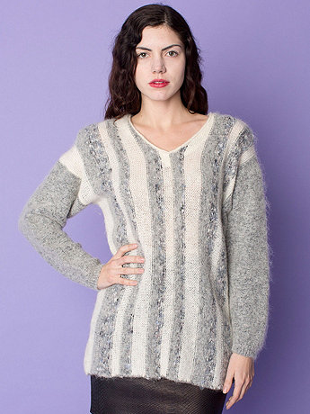 Vintage Marled Stripes Mohair V-Neck Sweater