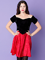 Vintage Velvet & Taffeta Off-the-Shoulder Party Dress