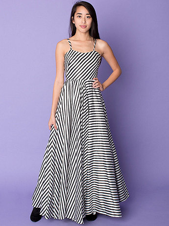 Vintage Striped Spaghetti Strap Ball Gown