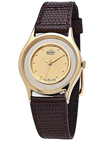 Seiko Gold/Silver Ladies' Leather Band Watch