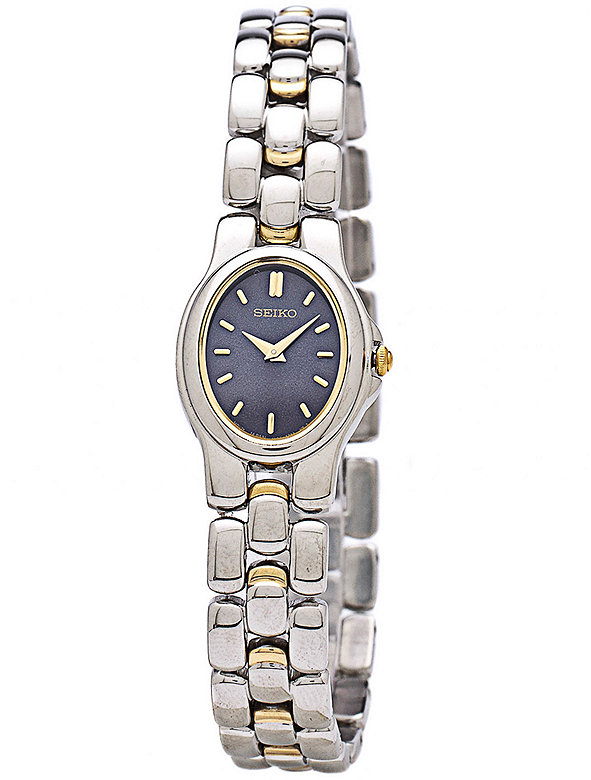 Seiko Navy/Silver/Gold Oval Ladies' Metal Band Watch