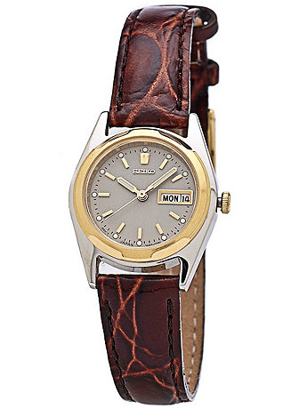 Seiko Grey/Gold/Silver Ladies' Leather Band Watch