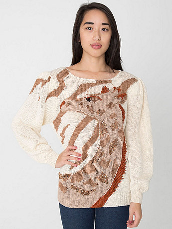 Vintage Giraffe Print Novelty Sweater