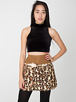 Vintage Leopard Print Fur Mini Skirt