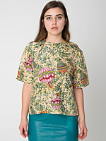 Vintage Hot Air Balloon Print Silk Tee