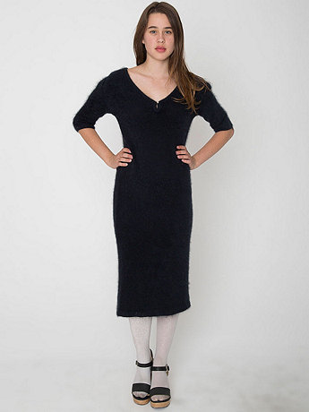 Vintage Black Angora Sweater Dress