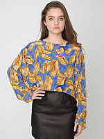 Vintage Luggage Print Silk Cropped Blouse